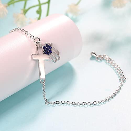 ShZyywrl Pulsera Pulseras Y Brazaletes De Eslabones De Cadena De Cristal De Color Plateado Y Dorado Rosa De Moda para Mujer, Joyería De Cristal Azul