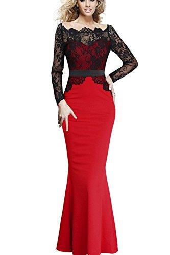 Fordestiny® Damen Spitzenkleid Brautjungfer Cocktailkleid Lace Hochzeit Party Langes Kleid