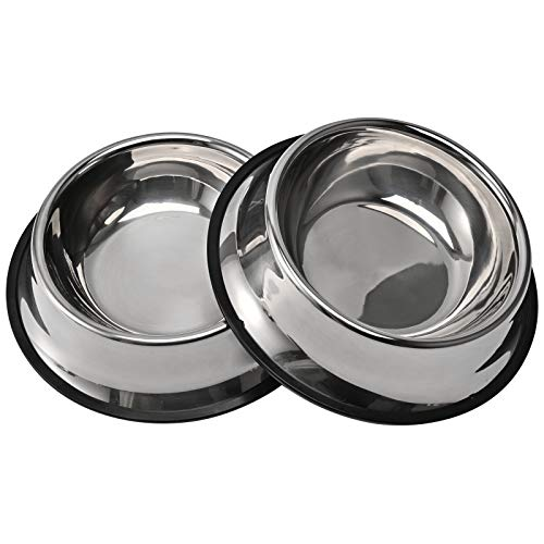 2Packs Stainless Steel Dog Bowl with Anti-Skid Rubber Base for Small/Medium/Large Pet, Perfect Dish, Pets Feeder Bowl and Water Bowl Perfect Choice for Dog Puppy Cat and Kitten (16oz)