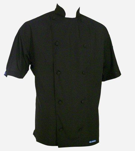 CHEFSKIN LOT of 2 6X Black Chef Jacket Short Sleeve Super Lightweight XXL