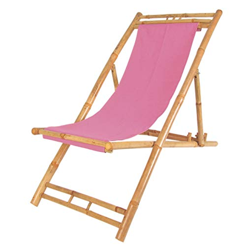 Spetebo Bambus Liegestuhl höhenverstellbar - Farbe: pink - Holz Sonnenliege klappbar Strandliege
