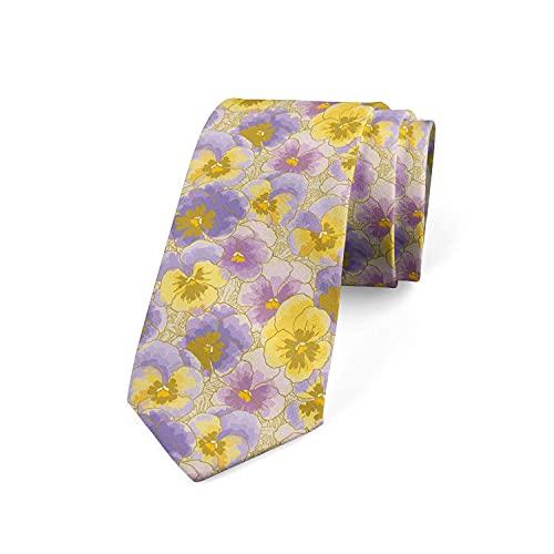 Tcerlcir Corbata Para Hombre Pansy Garden Dibujado A Mano, Lavanda Lila Poliéster Amarillo Boda Clásica Corbata De Negocios