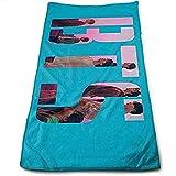 QWAS BTS - Toallas de playa de BTS, toallas de baño suaves y esponjosas, aspecto moderno, toalla de viaje, plegable, superabsorbente (A03,80 cm x 130 cm)