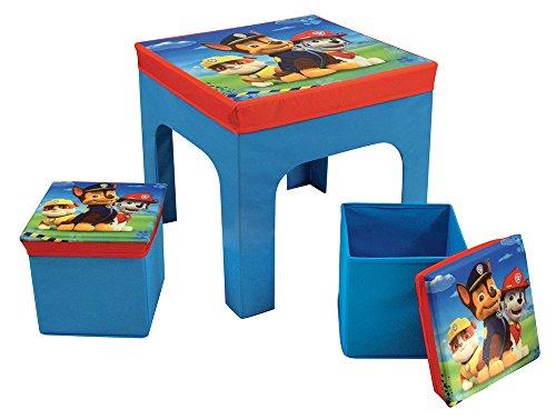 FUN HOUSE 712649 PAT'PATROUILLE Table avec 2 Tabourets de Rangement Pliable pour Enfant en intissé Table 52 x 52 x 15 cm