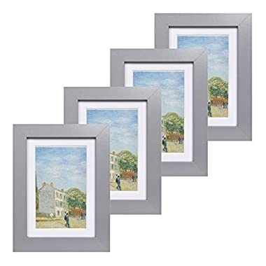 Muzilife 5x7 Wood Picture Frame - Flat Profile - Set of 4 - for Picture 4x6 with Mat or 5x7 without Mat (Gray)