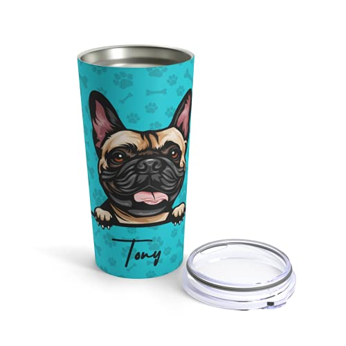 Personalized Name Dog French Bulldog Custom Tumbler Cup 20oz Stainless Steel Insulated, Travel Mug Warm Cold Drinks Coffee Beer Gifts for Men Women, (Change background color)-Sku-28-43