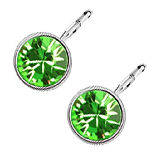 GWG Jewellery Pendientes Mujer Regalo Pendientes Colgantes, Chapados en Oro Blanco 18K Cristal de Color Esmeralda Verde de Diseño Clásico para Mujeres
