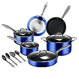 Kitchen Cookware Sets, MVCHIF Nonstick Cookware Sets Pots and Pans Dishwasher Safe, 14 Pieces, Blue