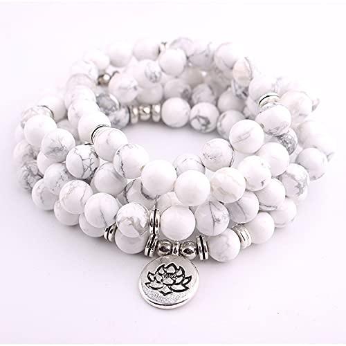 8 mm Pine Blanco 108 Pulsera o Collar de Mala for Hombres Mujeres Yoga Curación de Las Perlas de oración Strand Charm Bracelet (Metal Color : Lotus Silver)