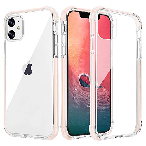 OHNICE iPhone 11 Case Clear Ultra Premium Hybrid Anti-Yellow Hard PC Back Cover with Soft Crystal Corners Rubber Bumper Shockproof Protective Case for Apple 2019 New iPhone 11-6.1 inch (Pink)