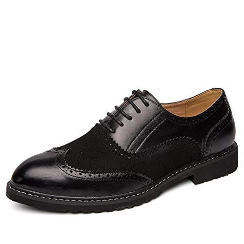 XUEXIU Männer Das Geschäft Sattel Geschnitzte Schuhe Oxford Cloth Lace-up PU-Leder und Wildleder Slit genähtes runder Kopf mit flachem Boden Leichte beiläufige Anti-Rutsch-Wingtips Schuhe