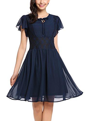 Zeagoo Damen Chiffon Kleid Sommerkleid Elegant Partykleid Hochzeit Festliches Kleid A Linie Kurzarm...