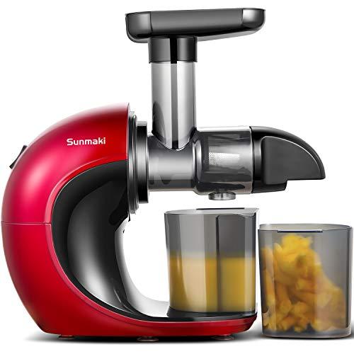 Licuadora Prensado en Frio,Sunmaki Licuadora Frutas Verduras,Extractor de zumos con motor silencioso y función inversa,fácil de limpiar,alto rendimiento de jugo y pulpa más seca para verduras y frutas
