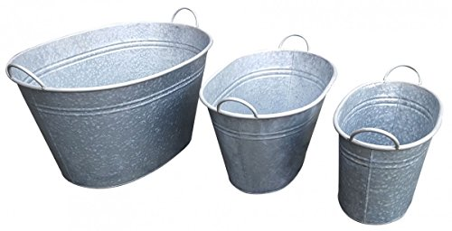 Fachhandel Plus 3er Set verzinkte Wannen oval, Zinkwanne, Pflanzkübel, Getränkekühler, Deko
