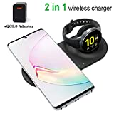 LY88 Chargeur sans Fil 3 en 1, Support de Charge sans Fil Rapide Qi pour iPhone 11/11 Pro/X/Galaxy S20 Ultra/Galaxy Z Flip/Galaxy Buds + / Galaxy Watch 42 / 46mm / Gear S3 / S2 / Act