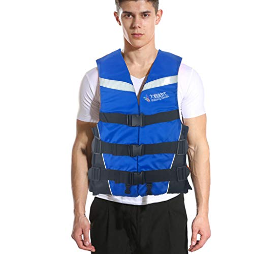 Adults Life Jacket Aid Vest, Kayak Ski Buoyancy Fishing Boat Watersports Classic Series Vest, Life Vests Coat with Whistle, Watersport Adults Lifejacket for Men Women Teens M-XXXL (Blue, L)