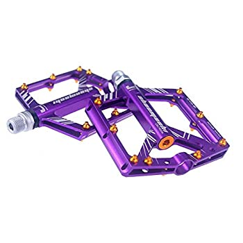 Eveter 4 Sealed Bearings Mountain Bike Pedal Platform Cycling Alloy Flat Pedals S1  Purple