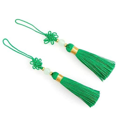 2 piezas de 11-13 Cm moldeados del encanto de la borla de artesanía chinas nudos for hacer la joyería DIY regalos de la decoración de la fiesta de Navidad púrpura Marrón Blanco Negro Rosa Verde Rojo c
