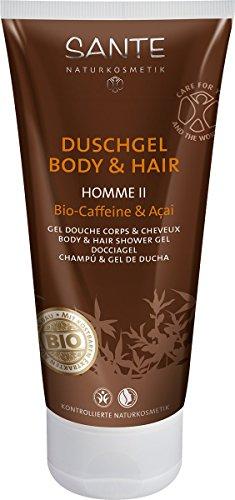 SANTE Naturkosmetik Homme II Männer Duschgel Body & Hair 2in1 Bio-Caffeine & Açai für Herren, Anregend & Vitalisierend, Vegan, Men Care 2x200ml Doppelpack