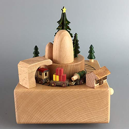 """Music Box Delightful Quality Wooden Musical Box Featuring Christmas Theme & Mountain Tunnel with Small Moving Train,Wood Color Music Box Best Gift For Kids and Friends   Plays """"Merry Christmas"""" Song C"""