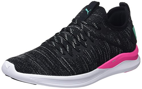 Puma IGNITE Flash evoKNIT Wn's, Damen Laufschuhe, Schwarz (Puma Black-Knockout Pink-Biscay Green), 42 EU ( UK)