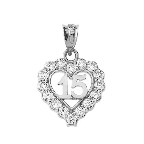 Elegant Sterling Silver Quinceanera Open Heart Charm Pendant with Cubic Zirconia