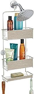 mDesign étagère de douche à suspendre – panier rangement sans perçage – accessoire de rangement avec étages et crochets po...