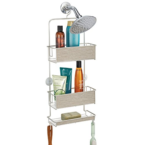 mDesign Estantería ducha sin taladro – Accesorios ducha – Fácil de colgar – Para sus productos de higiene como champú, acondicionador, jabón, etc. - Satinado/gris