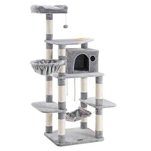 FEANDREA 63.8 inches Sturdy Cat Tree with Feeding Bowl, Cat Condos with Sisal Poles, Hammock and Cave, Padded Platform, Climbing Tree for Cats, Extra Large, Anti-toppling Devices, Light Gray, UPCT99W