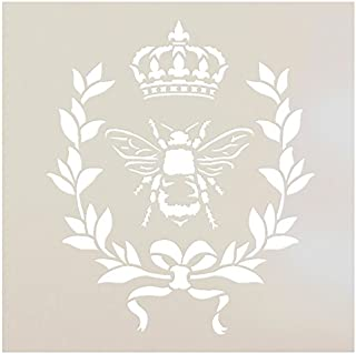 French Bee Stencil by StudioR12 | Crown, Laurel Wreath, Bee, Shabby Chic Country - Reusable- Chalky Paint- Use for Furniture Wood Signs Pillows Fabric Home Wall Decor | Select Size (6