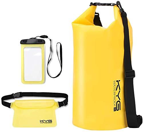 KYG Bolsa Estanca Impermeable 10L Set de Mochila Estanca con Funda de Móvil y Bolsa de Cintura, Bolsa Seca para Playa y Deportes al Aire Kayak Senderismo Esquí Pesca Escalada Camping, Amarillo