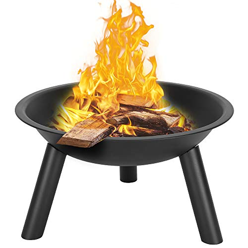 QIANQBKN 22 Inch Fire Pit Bowl, Outdoor Wood-Burning, Iron, 3 Legs, for Patio, Backyard, and Camping Black (Black)
