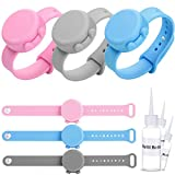 Wrist band hand sanitizer dispenser,JASSINS Silicone Refillable hand sanitizer wristband,Liquid/gel Distributorcarrying tool (3 Pack, Gray Pink Blue)