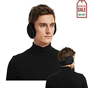 Mocofo Classic Fleece Ear Muffs Headwear Collapsible Behind The Head Winter Ear Warmers for Women and Men