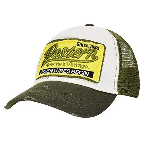 Unisex Verano Gorra De Béisbol Algodón Sombreros Casuales De Malla Bordada Gorras Molienda Borde Haga Viejo Sombrero para Hombres Mujeres (Verde)