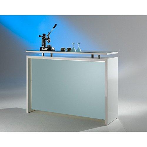 MS Schuon - Klenk Collection: Starlight Theke, Hochglanz in Silber-Weiß mit Glasplatte - Eingangstheke, Verkaufstheke, Rezeption Empfangstresen, Beratungstheke, Messetheke