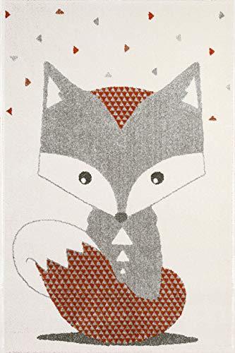 Arte per Bambini Animali Design Cameretta Bambini Fox Tappeto, Multicolore, 100x 150cm