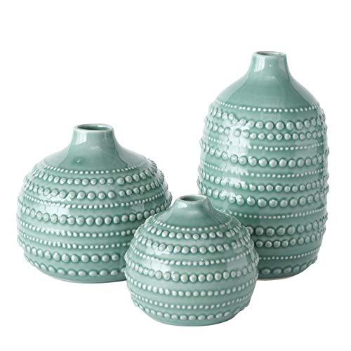 Juego de 3 jarrones decorativos de porcelana (10-20,5 cm de altura,...