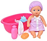 Bathtub Baby Doll, Bath Time Set 10 Inch Doll with Tub, Toy Soap, Wash Cloth, Rubber Hippo Bath and Pool Play Water Accessories