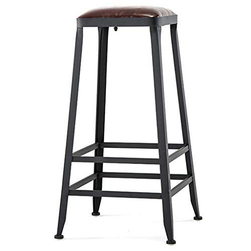 LJWJ Sgabello da Bar Cafe Sedia Ristorante Retro Stile Industriale Sgabello da Bar Scarpe da Bar in Ecopelle Sgabello Industriale Vintage Impilabile per Colazione,75 Cm,75 Cm.