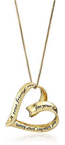 """Sterling Silver with Yellow Gold Flashed """"A True Friend Reaches For Your Hand But Touches Your Heart"""" Open Heart Pendant Necklace, 18"""""""