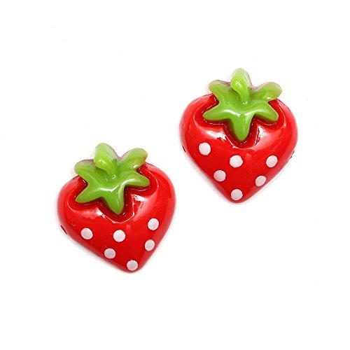 Idin orecchini a clip–colore rosso fragola (ca. 15x 18mm)