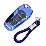 Funda de Silicona para Llave Ford – Cover Carcasa de TPU Cromo Suave para Ford Fiesta Focus Galaxy Fusion Mondeo C-MAX Kuga Ecosport Protección Llaveros Mando a Distancia (Azul)