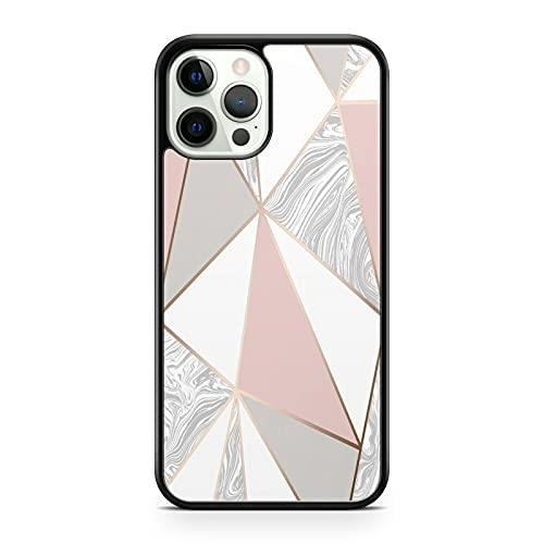 Funda para teléfono Samsung Galaxy J5 (2017), diseño de triángulos geométricos, color rosa, blanco y gris