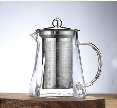 950ml glazen theepot met roestvrij stalen infuser, olong, zwart verwarmde theepot, goed doorzichtig, vierkante filterbasketten