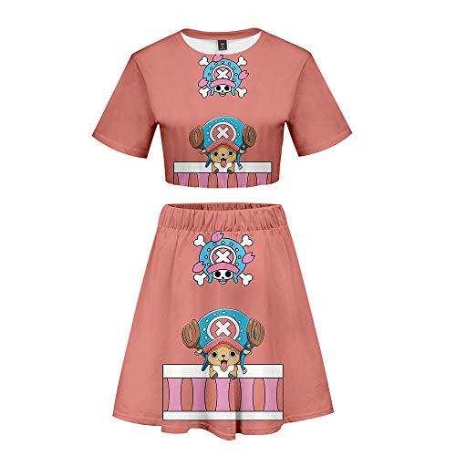 ONE Piece T-Shirts und Kurze Röcke Set Damen Sommer 3D Digitaldruck Japanische Anime Anzug Crop Tops Bauchfrei Oberteile Sport Skater Rock Cosplay Set Für Frauen Luffy Chopper Zoro Nami Sanji
