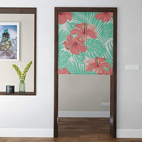 WJJSXKA Door Curtain Japanese Noren Curtain Hibiscus Flower Vintage Color 3D Print Doorway Curtain Hallway Bedroom Partition Curtain Door Tapestry with Telescopic Rod for Home Decor Short Style