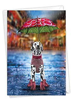 NobleWorks Raining Dogs Alone - Cute Miss You Note Card with Envelope - Pet Dalmatian Print Thinking of You Notecard C6823HMYG