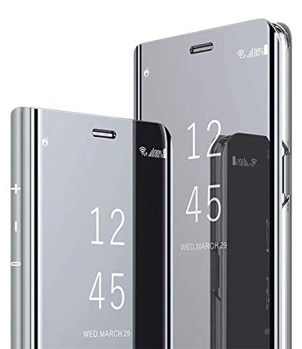 DG.MING Espejo Inteligente Funda para Samsung Galaxy J7 Core Funda Espejo Ultra Slim Brillante Standing Mirror Flip Caso Clear View Case Cover