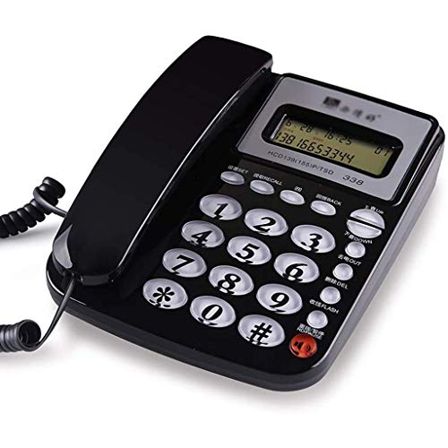 VERDELZ Teléfono con Cable con Bloqueador De Llamadas Teléfono con Cable con Pantalla De Altavoz Calculadora Básica E Identificador De Llamadas - Negro